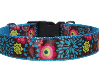 """Brown Blue and Pink Floral Ribbon Dog Collar on 1"""" Nylon Webbing - Adjustable Sizes"""