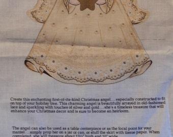 Christmas Angel Fabric Panel/ V.I.P Screen Print Cranston Print Works Co. Keepsake Crafts/ 13 1/2 inches tall/ cut sew & stuff christmas