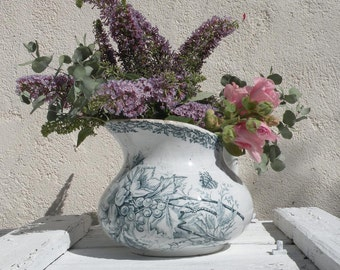 French antique ironstone pitcher, French shabby chic toilet jug, French country home, antique crazed pitcher floral transferware