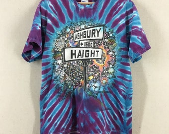 Vintage 1992 Haight Ashbury Ralph Hawke San Francisco Tie Dye Tshirt Sz Large