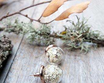 Rose gold earrings, stud earrings, botanical earrings, real flower jewelry, glass globe earrings, dainty earrings, pressed flower