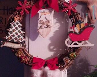 Santa 12 inch grapevine wreath