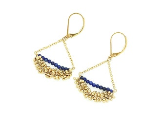 Earrings gold gold / gold and blue / natural stones: lapis lazuli / day of Mistral / gift idea was
