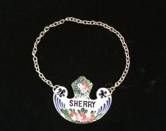 Vintage Enamel Sherry Decanter Label