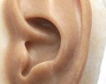 Human LEFT Ear Prosthetic, Special Effects Prop, Spfx- Medium/Caramel