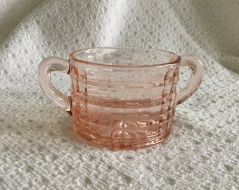 Optic Pink Depression Glass Sugar Bowl, Optic Block Sugar Bowl, Pink Depression Glass, Block Optic Pink Sugar Bowl, Pink Sugar Bowl, 1930s