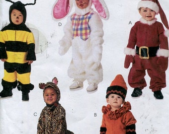 Toddlers Costume Pattern McCalls 3755 Bee Bunny Santa Cat Crayon Size 1 to 4 UNCUT