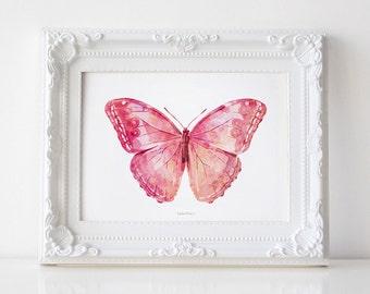 Pink Butterfly art print, Girly wall art, Bedroom decor, Nursery girl decor PRINTABLE Butterfly wall art, Butterfly decor, Butterfly poster