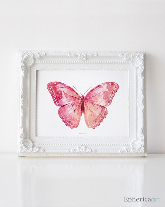 Pink Butterfly Wall Decoration : Pink butterfly art print girly wall bedroom decor