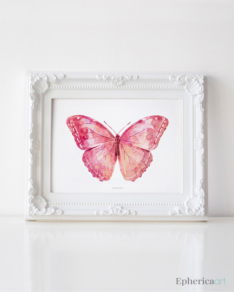 Pink butterfly art print girly wall art bedroom decor for Pink wall art