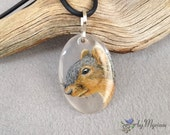 Squirrel pendant . Hand-drawn squirrel profile on clear background with sterling bail . Grey squirrel pendant . Gray squirrel necklace