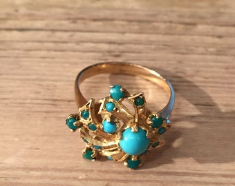 Turquoise 18k Abstract Design Ring 1970s