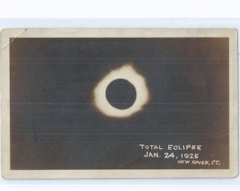 RPPC Total ECLIPSE Jan. 24, 1925, New Haven Ct. Real Photo Postcard AZO, attrib. Frederick E. Turner