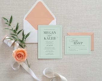 Modern Wedding Invitation, Mint and Grey Wedding Invitation, Printable Wedding Invitation, Mint Wedding Invitation, Elegant Wedding Invite