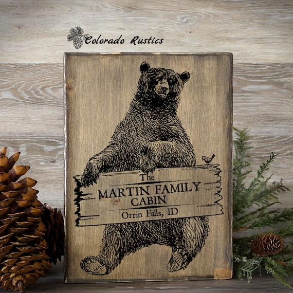 12 Home Decor Gift Ideas From Walmart: Personalized Cabin Sign Cabin Decor Bear Sign By