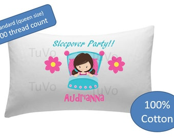 Personalized Pillowcase - sleepover party pillow case pillow cover