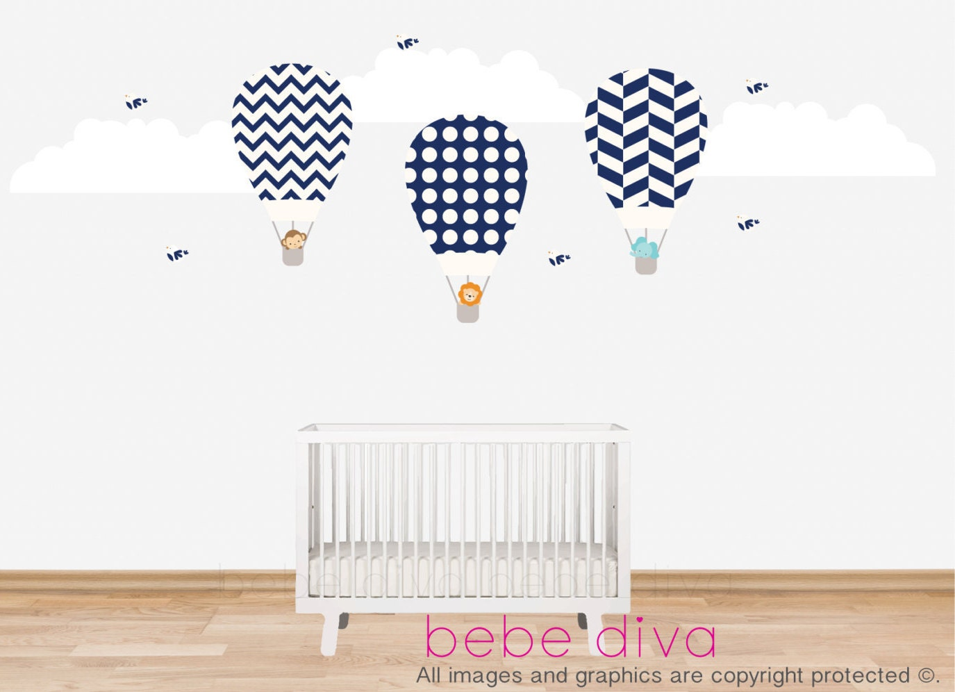 Details Our Timeless And Classic Damask Hot Air Balloon Wall Decals