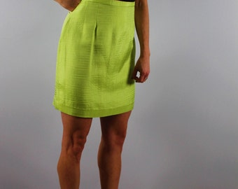 Vintage neon mini skirt 1980 80s bright yellow green high waist skirt small summer skirt