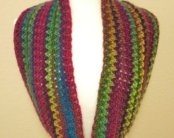 Crochet Multi-color Long Cowl