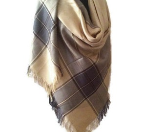 Camel Gray Tartan Plaid Blanket Scarf, Unisex Winter Scarf, Cozy Winter Shawl Cover Up, Oversize Brown Wrap, Gift For Her, Gift For Him