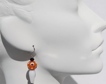 Orange and Black Polka-Dot Earrings