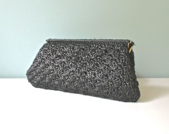 Vintage Straw Bag, Black Purse, Clutch, Handbag, Raffia Bag, Summer Purse, Straw Purse, Woven Purse, Unique Purse, Made In Italy