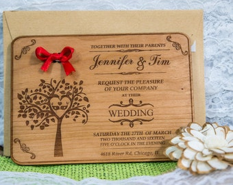 Engraved Wood Wedding Invitation 20/  Rustic Handmade Wedding Invitations/ Handmade Wedding-Invitation /  Vintage Wooden Invitation