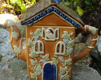 Vintage Porcelain Teapot/Tea Kettle - House with Vines - China