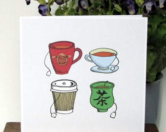 "Birthday card (40) my pencil drawing of 'Four teas' printed in colour on white greeting card Welcome to your four-tees 6""/15cm original art"