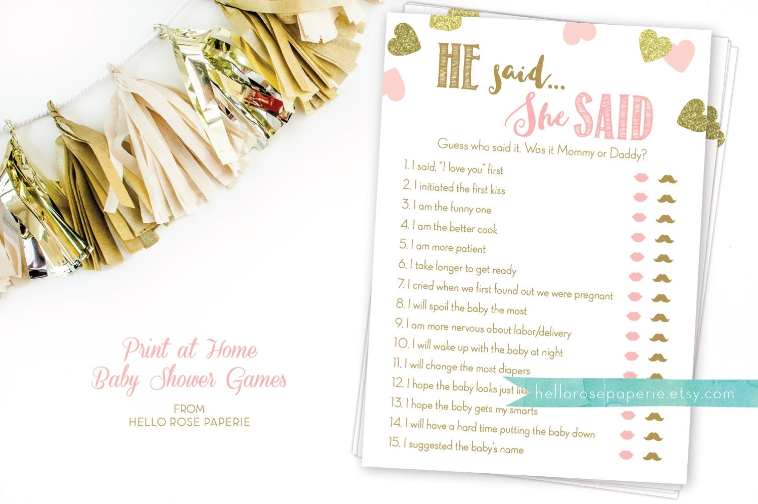 pink and gold baby shower game he said she said mommy or