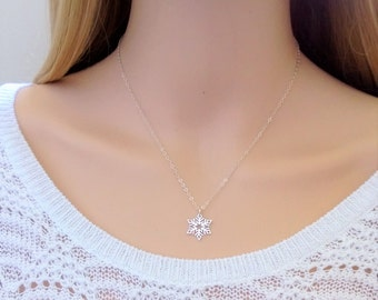 Sterling silver snowflake necklace; snowflake pendant necklace; long snowflake necklace; winter necklace; Christmas necklace