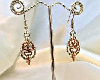 Steampunk Chainmaille Earrings - Bronze & Aluminum - Half Willik - Chainmail Jewelry
