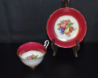 Bone China Windsor Cup and Saucer Set Fruit Pattern