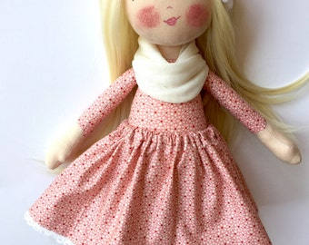 Blonde doll cloth doll rag doll textile doll pink outfit blonde hair long hair