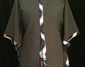 Medium Olive Dogtooth Check Cape with African print trim