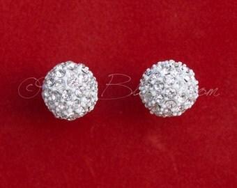 Winter Wedding Bridal Jewelry, Crystal Rhinestone White Snow Ball Earrings. Wedding Earrings. Bridesmaids Earrings. Bridal Gift, Ruby Blooms