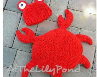 Newborn crochet outfit, Crab Shell, Newborn photo prop, Crab Outfit, Crochet baby hat, Baby Halloween Costume, Newborn Halloween Costume