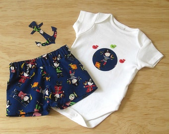 Boys clothing set sale. Boys reduced Pirate set. Pirate 2 piece. Clearance Pirate onesie and shorts set.Boys summer clearance sale.Boys sale
