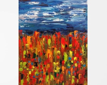 """Abstract oil painting Abstract art Colorful painting Colorful wall décor Abstract landscape Colorful abstract art Colorful Unique art 11x14"""""""