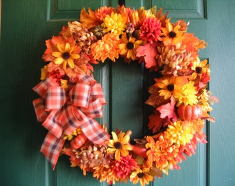 Fall Wreath, Autumn Door Wreath, Thanksgiving Wreath