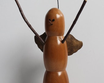 Snowman Angel hand turned solid Cherrywood