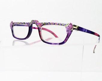 Grapes Reading Glasses +4.00, Hand painted eyeglasses, Multicolored purple