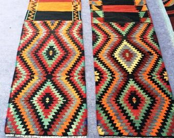 Turkish Small Kilim Rugs / 6'5' x 1'10'' ft /1.96 x 0.55 mt /6'4''x 1'9''ft / 1.92 x 0.52 mt