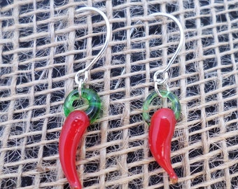 Mini Lampwork Red Chilli Peppers Glass Beads On Sterling Silver Earrings