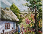 Countryside watercolor landscape painting Typical ukrainian art antique house Old village cottage Ancient country estate Wicker fense Rural