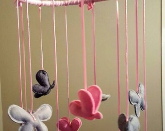 Baby mobile Pink and Grey Ambre Butterflies