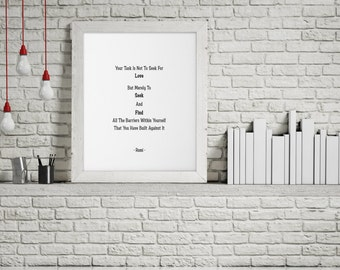 Rumi Quote , Rumi Print , Rumi Art , Rumi Wall Decor , Rumi Inspirational Quote , Printable Rumi Art , Downloadable Rumi Art , Rumi Poem.