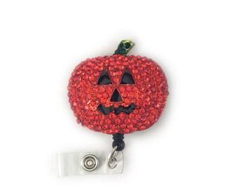 Shimmering Pumpkin-Badge Holder-Retractable ID Badge Holder-Halloween Badge Holder-Pumpkin Badge Reel-Halloween Badge Reel-Halloween Id Reel