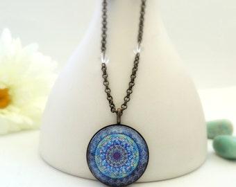 Healing Necklace MOON MANDALA Necklace Blue Mandala Healing Jewelry Mandala Jewelry Sodalite Rock Crystal Mandala Art Print Energy Art