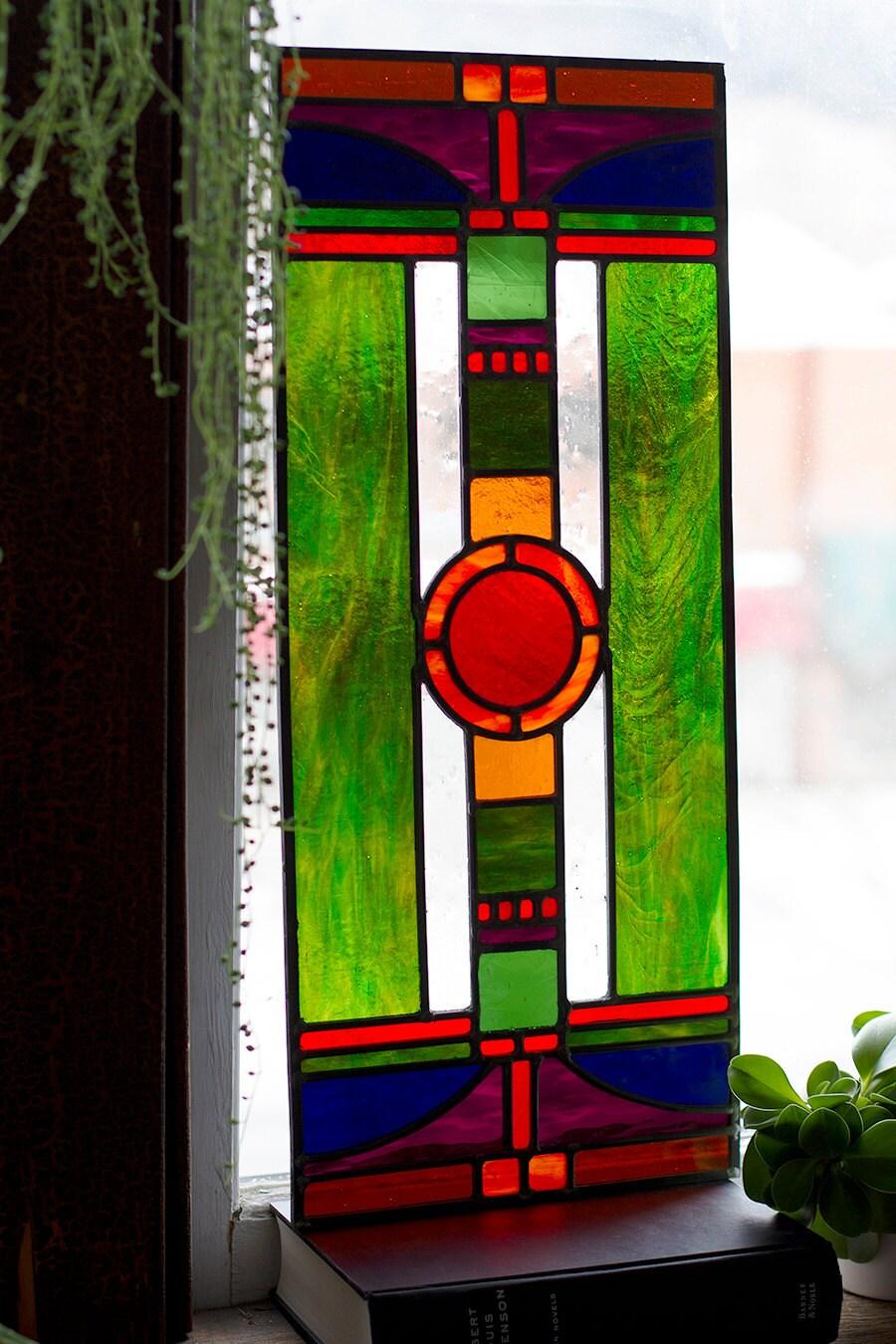 Art deco stained glass window panel jewel tones for Art deco glass windows